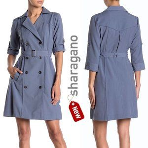Sharagano belted double breasted trench dress NEW